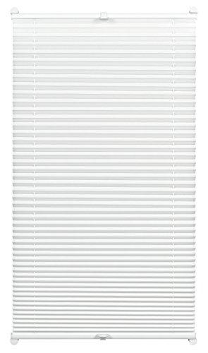 GARDINIA Plissee zum Klemmen, Blickdichtes Faltrollo, Alle Montage-Teile inklusive, EASYFIX Plissee verspannt mit zwei Bedienschienen, Weiß, 40 x 130 cm (BxH)