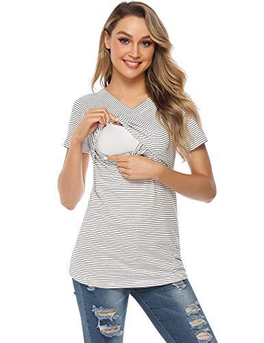 Aibrou Damen Umstandsmoden Top Stripes Schwangerschaft Top Stillshirt Lagendesign Wickeln-Schicht Weiß XL