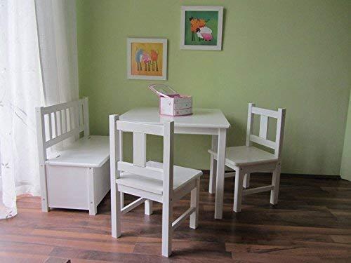 Best-of-JAM Kindersitzgruppe: Kindertisch mit 2 Kinderstühlen und 1 Kindersitzbank mit Deckelbremse aus Massivholz in Weiss