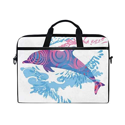 FOURFOOL 15-15.6 Inch Bolsa de Ordenador,Animal Cartoon Jumping Dolphin Print,Nuevo Patrón de impresión...