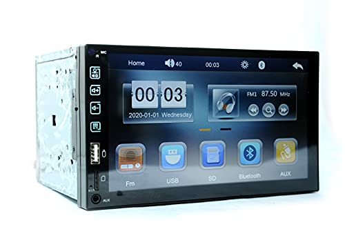 Cave MP5 Universal Fit Double Din 7Inch Full HD Capacitive Touch Screen 12V Car Stereo Supports Bluetooth/USB/FM/AUX/MMC/Screen Mirroring and Remote.