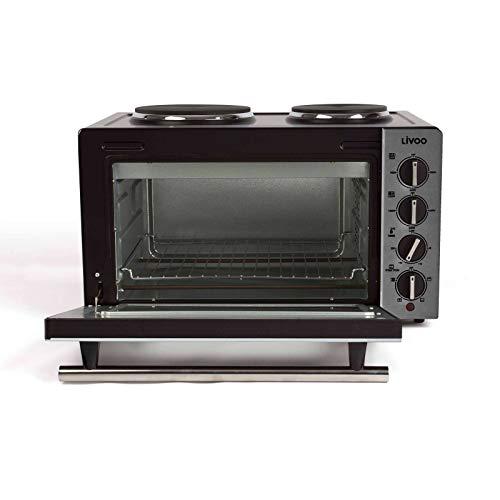 Minibackofen mit Herdplatte 30 Liter Mini Backofen Heißluft 3300 Watt (Miniofen mit Kochplatte, 5 Funktion, Pizzaofen, bis 230°C)