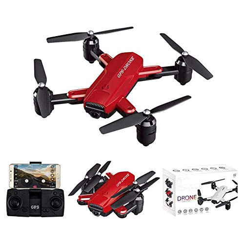QIXIAOCYB GPS Drone con Fotocamera. FPV. Quadcopter Live Video 5 GHz Bracci Pieghevoli RC. Groni for Principianti Adulti (Color : Red, Size : 1080P)