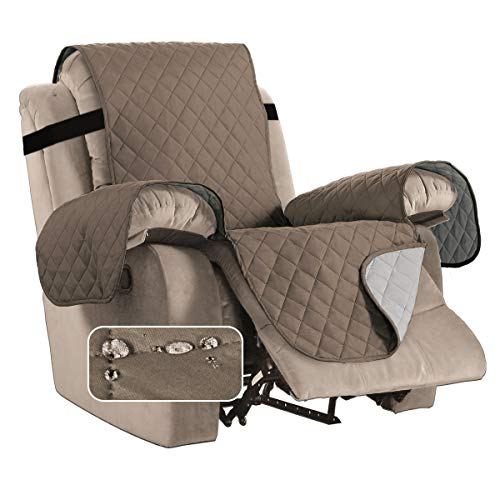 BellaHills Waterproof Recliner Chair Covers for Armchairs Recliner Covers for Leather Chair Reclining Chair Covers Protect from Pets/Dogs, Quilted with Non Slip Strap (Standard, Taupe/Beige)