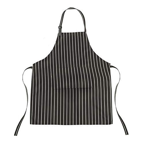 trixes Delantal Chef - Negro y Blanco Raya - Ideal para Profesionales y Chefs Aficionados - Cocina Delantal - para Cocinar Hornear Asar Barbacoa - Delantal Babero - Cierre de Corbata - Delantal Rayas