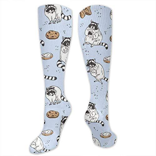 HGQHXY.U Waschbär Und Keksmuster Frauen Männer Hohe Socken Neuheit Socken Stiefel Socken Verrückte Socken
