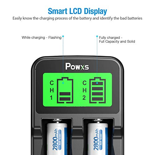 POWXS LCD Universal 18650 Battery Charger for 3.7V Li-ion Rechargeable Battery 18650 18490 18350 17670 17500 16340(RCR123) 14500 Lithium Batteries and Ni-MH Ni-CD Rechargeable AA AAA Batteries
