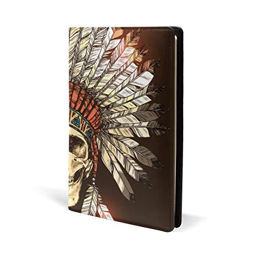 Taccuino indiano tribale con teschio in pelle, per scuola, ufficio, quaderno con copertina rigida, formato A5, 14,8 x 22,8 cm, per ragazze e ragazzi