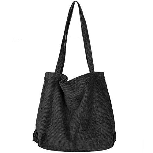 Women Corduroy Tote Bag, Etercycle Casual Handbags Big Capacity Shopping Shoulder Bag with Pocket (Black)