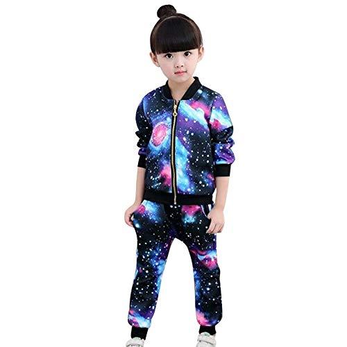 SXSHUN Mädchen Jogginganzug Kinder Sportanzug Trainingsanzug 2tlg Bekleidungsset Sweatjacke + Jogginghose, Mehrfarbig-1, 134/140(Etikettengröße:140)