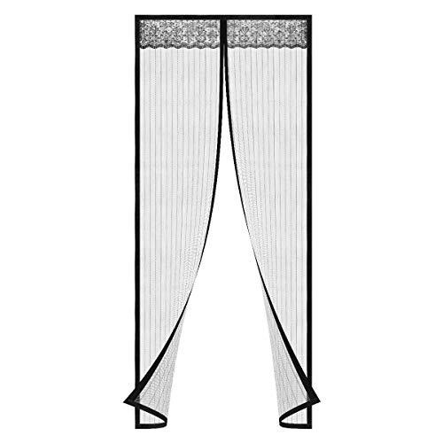 Magnet Fliegengitter Tür Magnet Insektenschutz Tür, Anti-Riss-verstärktes Oberteil, Rahmen-Klettverschlüsse für Balkontür Wohnzimmer Terrassentür, Klebemontage Ohne Bohren (100 x 210 CM)