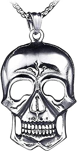 POIUIUYH Co.,ltd Collar Collar con Encanto de Personalidad con Colgante Punk Rock Collar Retro con Colgante de Calavera en Blanco de Acero Inoxidable Regalos