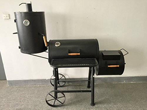 KIUG 75kg XXL (ABC) Texas Smoker BBQ GRILLWAGEN Holzkohle Grill Grillkamin ca. 2,0 mm Stahl Profi-QUALITÄT