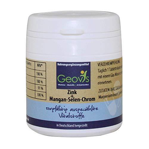 Geovis - Zink Mangan Selen Chrom Komplex - hochdosiert - 90 Tabletten mit je 10mg Zink & weiteren Mineralien und Spurenelementen - Stoffwechsel und Immunsystem - VEGAN - Nahrungsergänzung