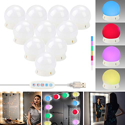 ZHENREN Vanity Mirror Lights, RGBW Color Make Up LED Mirror Light Kit with 10 Dimmable Bulbs, USB Port, Hollywood Style 1000LM Stick on for Vanity Set Dressing Room Bathroom