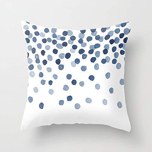 GYYbling Funda de Almohada Acuarela Azul Abstracto mármol patrón geométrico sofá Funda de Almohada Dormitorio decoración del hogar Funda de cojín Funda de Almohada A8 45x45cm 2pc