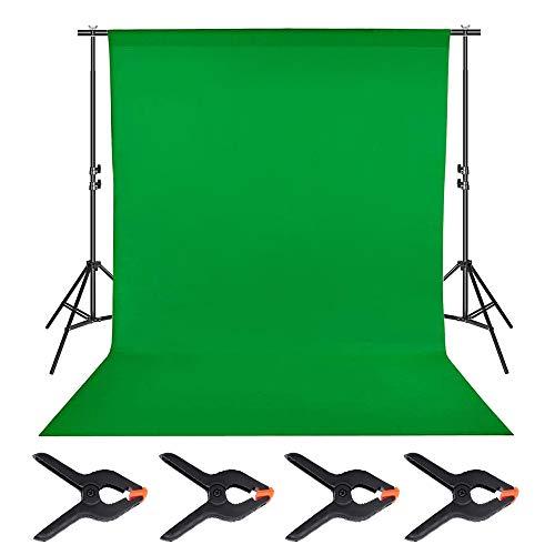 Gobesty Schermo verde, sfondo fotografico 6 x 9 piedi con 4 clip per sfondo, schermo di sfondo verde in mussola Chromakey per supporto cornice fondali, studio fotografico, webcast in diretta