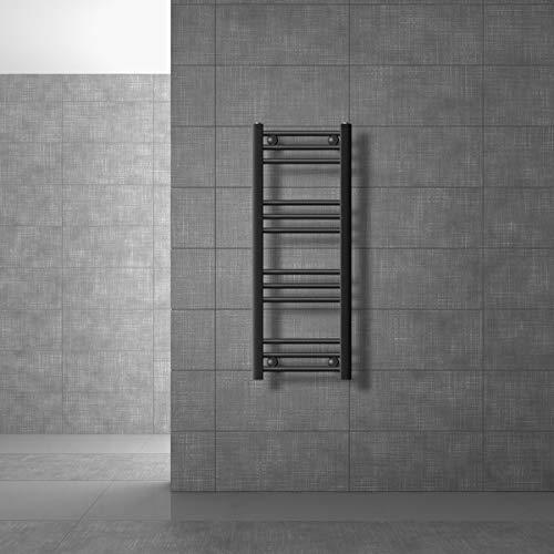 ECD Germany Radiador de baño Sahara - 300 x 800 mm - antracita - plano - con conexión central - Radiador toallero agua calefaccion