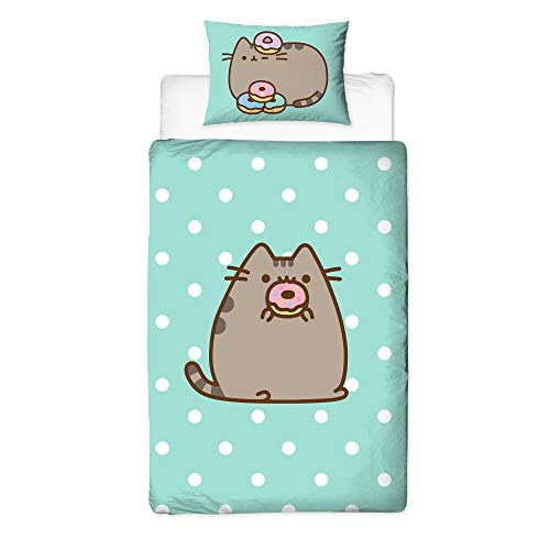 Pusheen Doughnut Design Single Duvet Cover | Reversible Two Sided Official Pusheen Bedding Duvet Cover With Matching Pillow Case