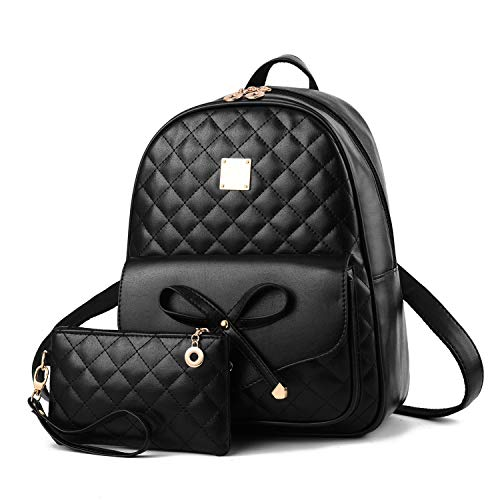 2-PCS Girls Fashion Backpack Bowknot Cute Mini Backpack PU Leather Rucksack Purse for Women COMET - Black
