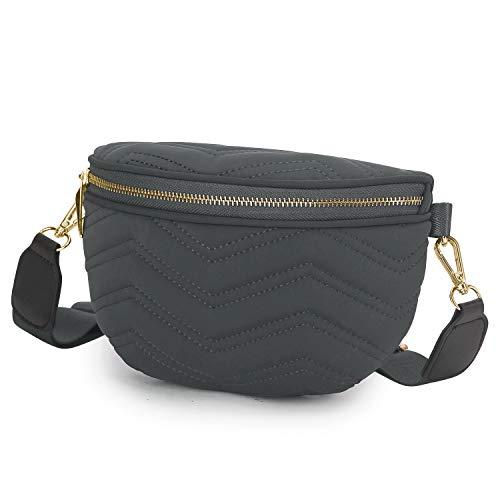 Wind Took Umhängetasche Damen Bauchtasche Gürteltasche Kleine Tasche Schultertasche Mode Brusttasche Sporttasche für Party Reise Outdoor, Grau