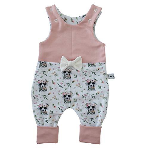 Baby Strampler Waschbär Rose - Schleife Weiss Babystrampler Neugeborenen Strampler Mitwachsgrößen Größe 50-62, 68-74 und 80-92 (50-62)