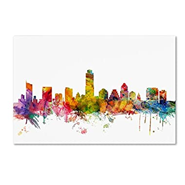 Austin Texas Skyline by Michael Tompsett, 22x32-Inch Canvas Wall Art