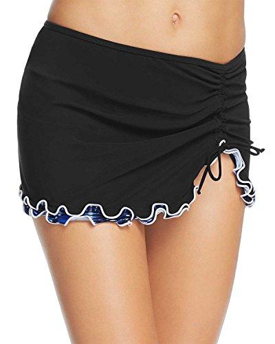 Profile by Gottex Women's Lettuce Ruffle Side Tie Skirted Swimsuit Bottom, Indigo Girl Black, 8