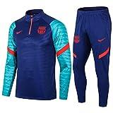 Weqenqing 2021 Nuova Tuta da Allenamento da Calcio da Uomo di Barcellona Mezza Cerniera A Maniche Lunghe Abbigliamento Sportivo da Calcio Traspirante da Competizione Uniforme da Squadra (Size : L)