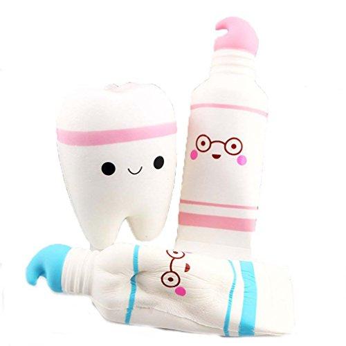 Combinación juguetes, Sayue 1pc rosa de dientes pasta de dientes + 2pc frenar el aumento del kawaii juguete