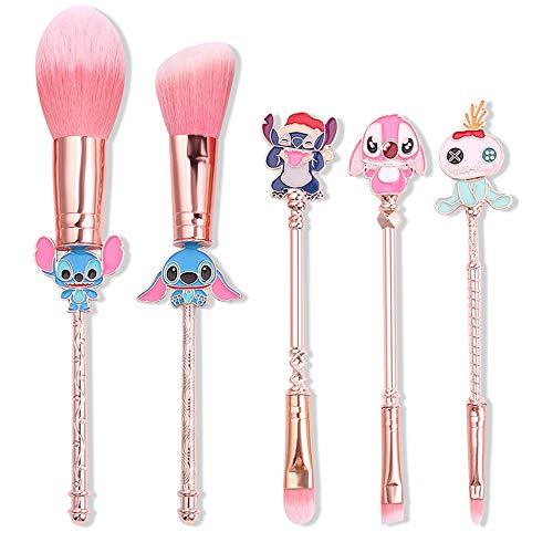 Interstellar Baby Makeup Brushes Set - 5Pcs Creative Stitch Theme Cosmetic Brushes Set, Premium Synthetic Foundation Eyeshades Brush Set Best Gift for Young Girl Women