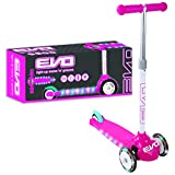 Evo Light Up Move N Groove Three Wheeled Scooter | Outdoor Scooters For Kids Girls & Boys - Batteries Not Included (Pink)