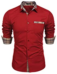 FABRIC:Wicking cotton fabric helps evaporate moisture,offers you great hand feel,skin friendly,very comfortable to wear; DESIGN:Slim fit,one chest pocket,turn down collar,this long sleeve button down dress shirt characterized by plaid pattern on coll...