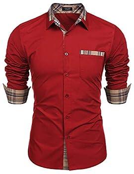 COOFANDY Men s Casual Cotton Long Sleeve Dress Shirt Plaid Collar Button Down Shirt Red