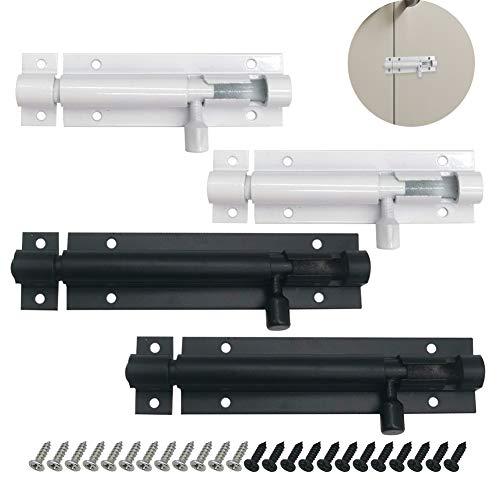 Pestillo Puerta Corredera, Perno de aleación de aluminio para puerta con tornillos, perno de torre, pestillo de puerta para habitación, garaje, jardín, paquete de 4 (3', 4')