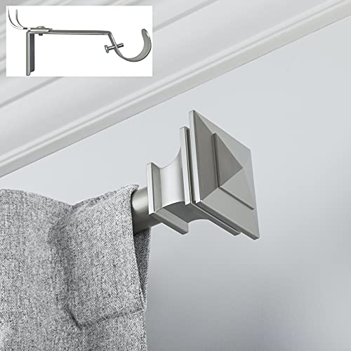"""Curtain Rod, Quick Easy Installation, No Tools Option, 1"""" Diameter, Durable Steel Construction, Supports Heavy Fabrics, Decorative Square Finial, 4 Brackets Included, 72""""-144"""" Adjustable Length, Nickel"""