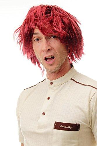 WIG ME UP - 91081-ZA103-ZA13-ZA13A Parrucca Donna Uomo Carnevale Arruffata Wild Corta Stupido Medioevo Hipster Mix di Rosso e Nero