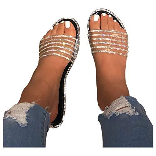 Tupenty Sandals for Women Rhinestone Comfy Flat Sandal Bling Diamond Flip Flop Slippers Casual Summer Beach Roman Shoes
