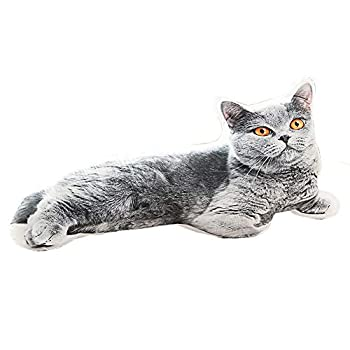 Cat Dog Shape Decorative Throw Pillow,3D Simulation Stuffed Animal Plush Cushion Pillow Toy for Kids,Home,Bed,Sofa,Pet  Gray Cat