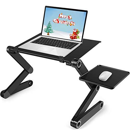 Adjustable Laptop Bed Table, Ergonomic Lap Desk with Cooling Fans, Detachable Mouse Pad, Portable Foldable Laptop Desk for Bed Sofa Office