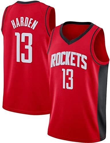 ZMIN Baloncesto de los Hombres Jersey-NBA ROCHLETS # 13 Harden Sportswear, Camiseta sin Mangas Unisex Camiseta de Malla Bordada de Malla Bordada,Rojo,S 165~170cm