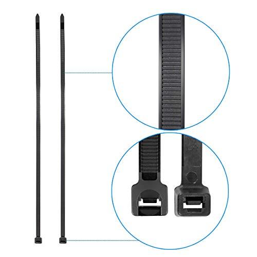 Superun 4 inch selflocking cable tie, 18 lbs tensile strength (Industrial grade zip tie) pack of 100 black