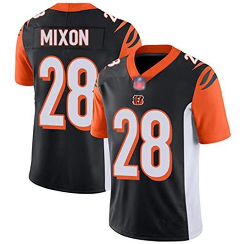 YDYL-LI American Football Jersey Uniform T-Shirt Bengals #28 Joe Mixon Herren Sweatshirt Kurzarm Fan Training Jersey Lose Atmungsaktiv Bequem Schwarz XXL