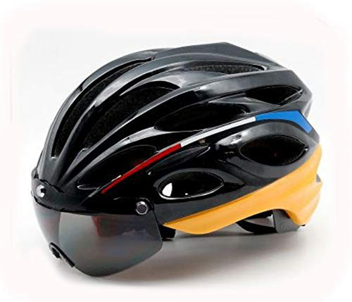 XYL LED vélo Casque CE avec avertisseur de feu arrière et Lunettes de Soleil magnétiques Convient pour VTT Casque de vélo de Route sécurité Protection Respirant Homme & Femme,Black