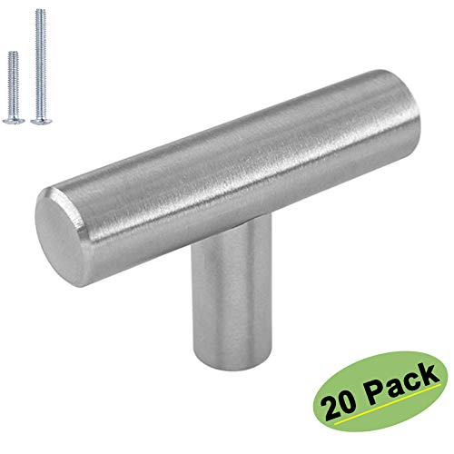 homdiy Brushed Nickel Cabinet Knobs 20 Pack - HD201SN Single Hole T Bar Cabinet Pulls with 2in Overall Length Kitchen Cabinet Hardware Knobs for Dresser Drawers Metal Drawer Knobs for,Bathroom, Closet