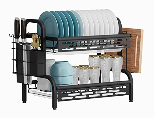 Manatees-Draining Board Rack with Drip Tray,2 Tier Black Dish Drainer Rack, Kitchen Plate Drying Rack with Cutlery Drainer