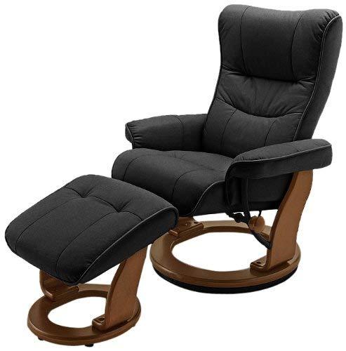 Robas Lund Sessel Relaxsessel mit Hocker Leder, TV Sessel Belastbarkeit bis 130 Kg, Schwarz