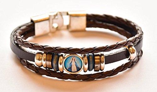 DIRECT FROM LOURDES Wundertätige Medaille Leder Armband & Lourdes Gebet Karte