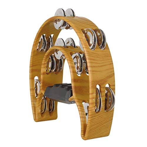 Gazechimp Zweireihig Tamburin Metall Jingles Hand Percussion Instrument Für Kinder Und Erwachsene Ideal Für Party Bar KTV Percussion Ensembles (Braun)