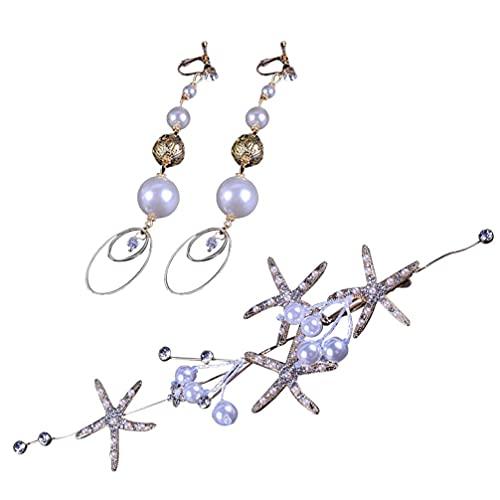 Affidabile 2pcs perla orecchino e fascia di stelle marine orecchini a stella marcata fascia set da sposa accessori per capelli orecchini combinati compatibili con le donne ragazze signore Pratico